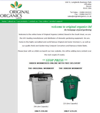 The first Original Organics Online Shop!